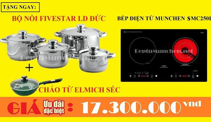 Bếp điện từ Munchen SMC 250I tặng bộ nồi và chảo