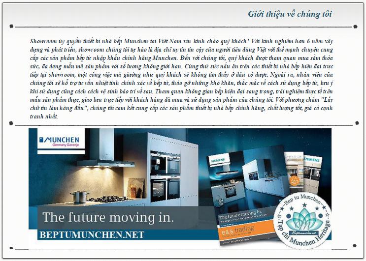 Giới thiệu về showroom bếp điện từ Munchen