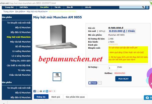 Địa chỉ mua máy hút mùi Munchen AM 9855 giá rẻ