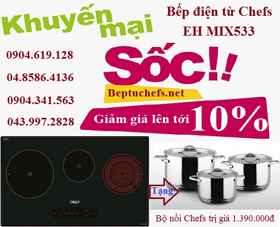 Giảm 10% cùng quà tặng hấp dẫn khi mua bếp điện từ Chefs EH MIX533