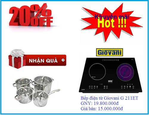 Cơ hội nhận quà hấp dẫn khi mua bếp điện từ Giovani