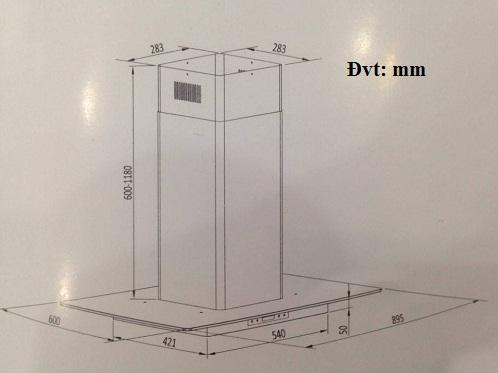 Những kích thước máy hút mùi Giovani phổ biến hiện nay