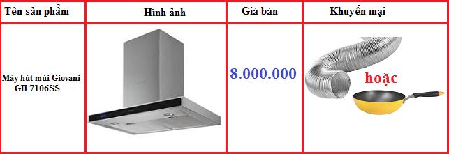 Giá bán của máy hút mùi Giovani GH 7106SS