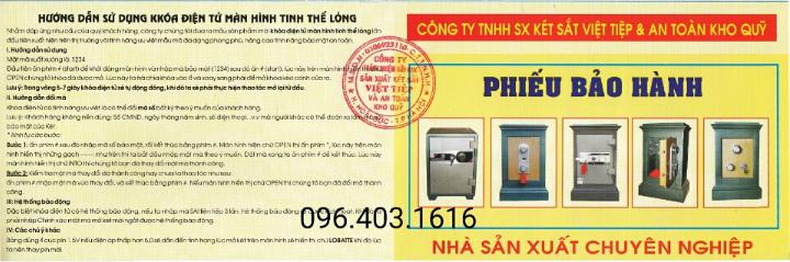 phiếu bảo hành chính hãng Việt Tiệp