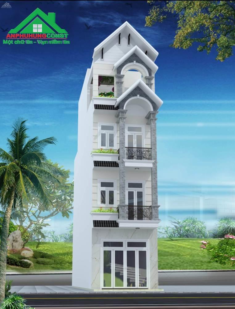 Phối cảnh 3D mặt tiền ngôi nhà.