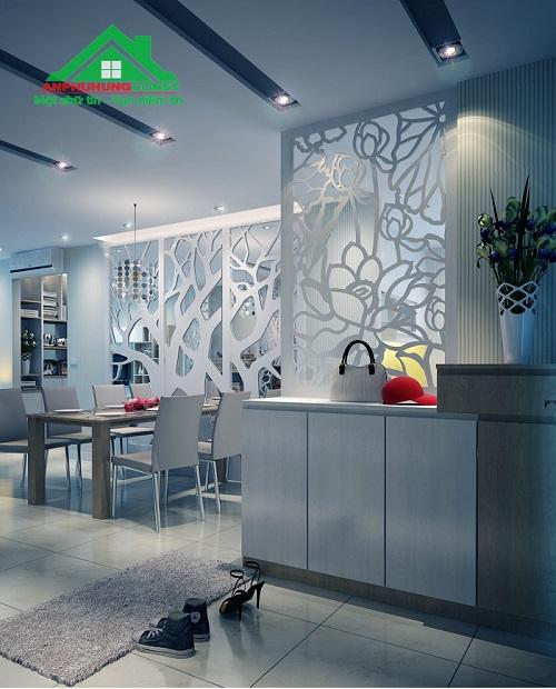 Tạo sự riêng tư giữa phòng khách và phòng ăn bằng vách ngăn