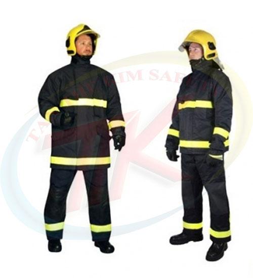 Bộ quần áo chống cháy , chịu nhiệt - Vải Dick son PTL ( Bao gồm : Quần , áo , mũ trùm đầu , bao giầy , găng tay)