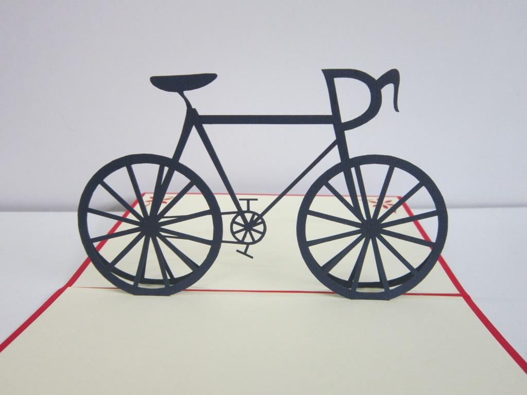 thiệp nổi góc 180 độ hinh xe đạp
