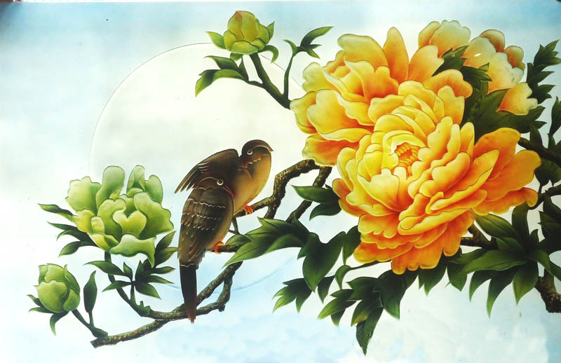 tranh kính hoa cuc 3d