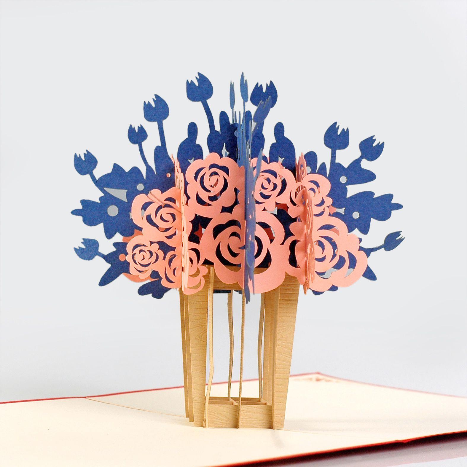thiệp nổi lọ hoa 3d