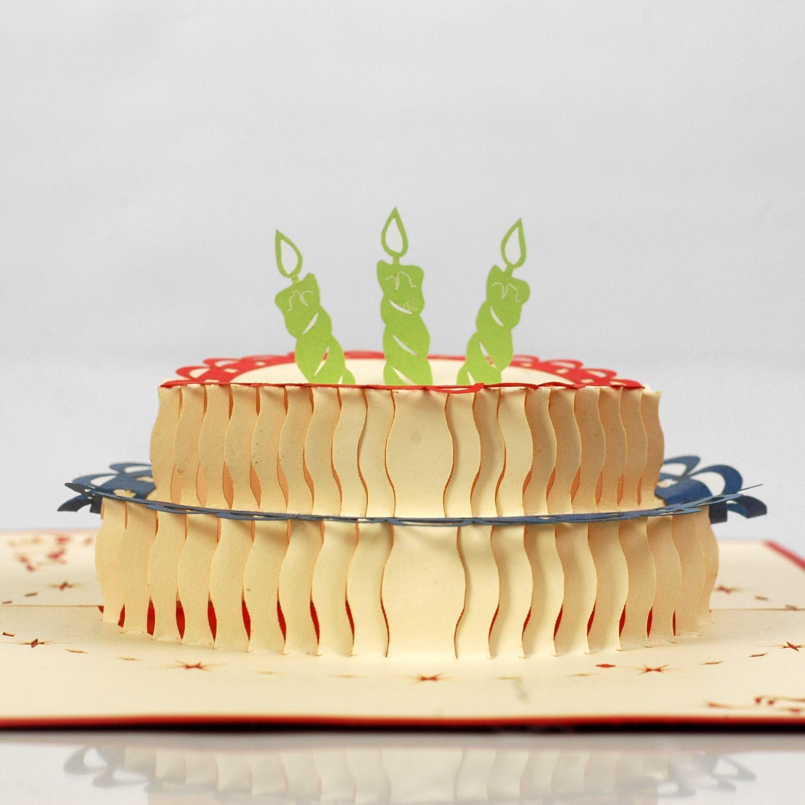 thiệp nổi hình bánh sinh nhật độc nhất
