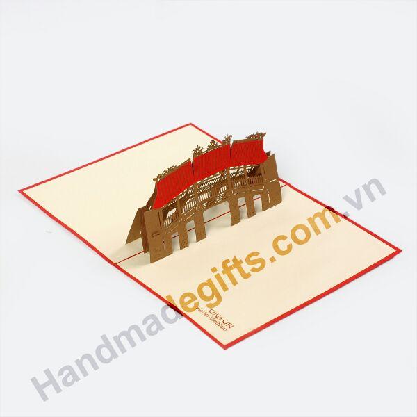 thiệp nổi 3d hình chùa cầu nhật bản