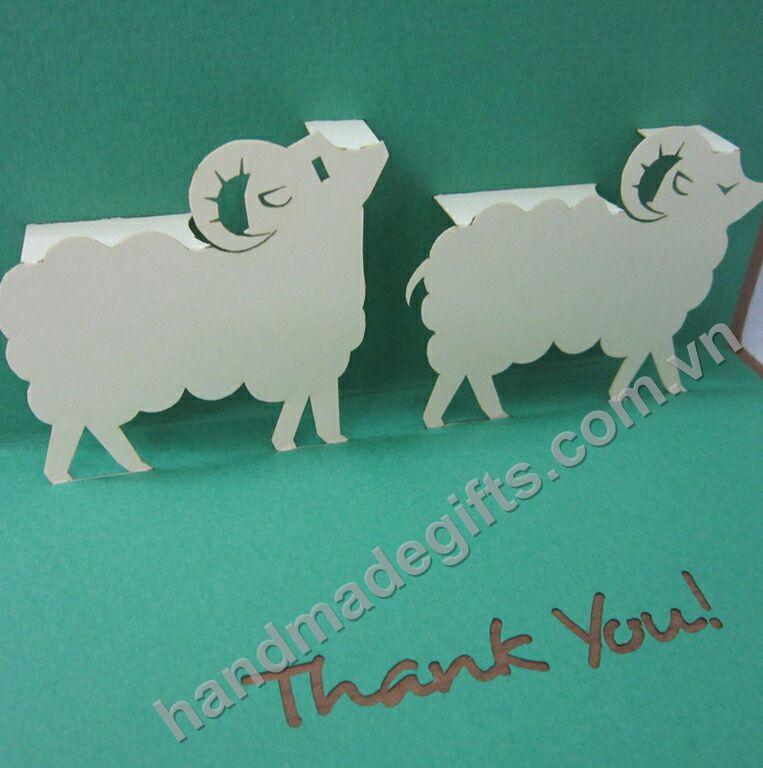 thiệp cám ơn hình đôi cừu