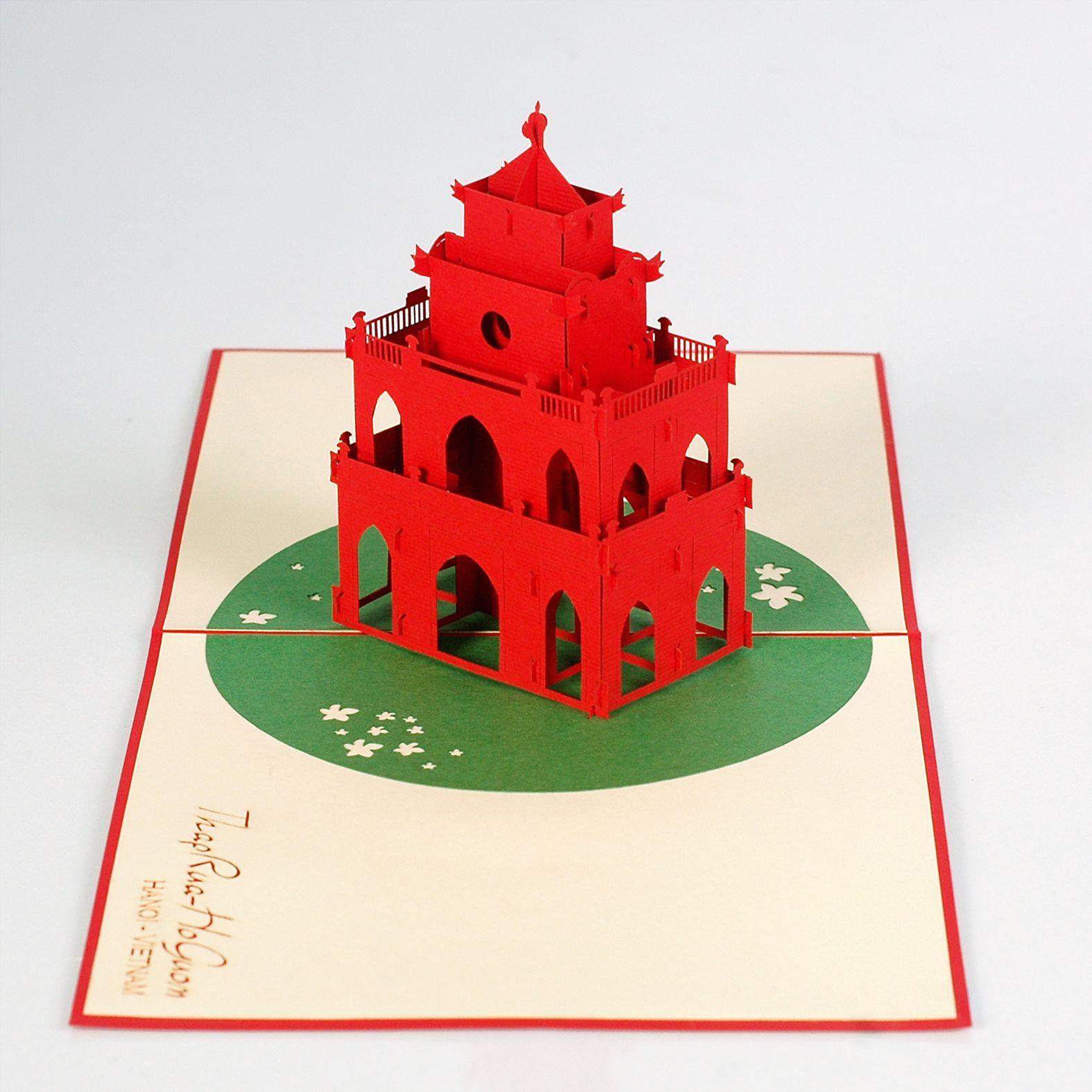 thiệp nổi tháp rùa