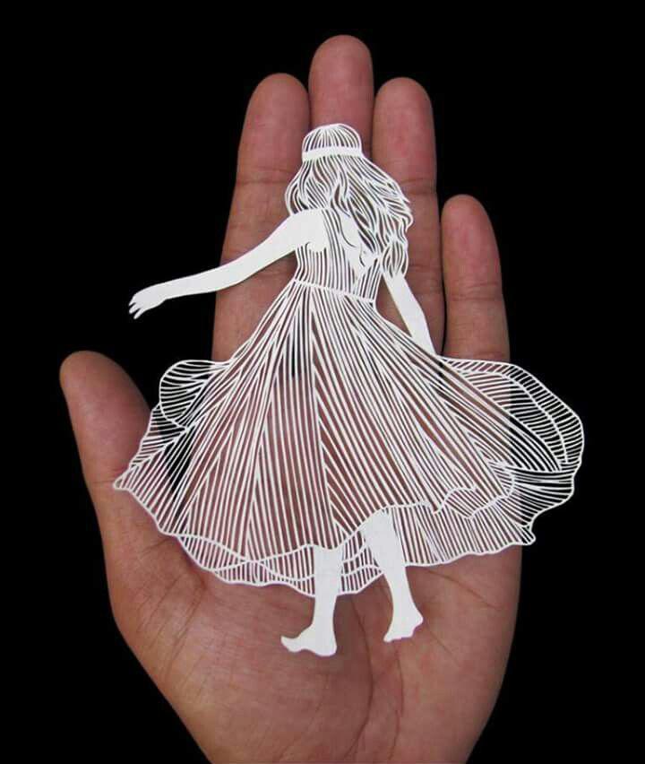 tranh cắt giấy laser hinh co gai