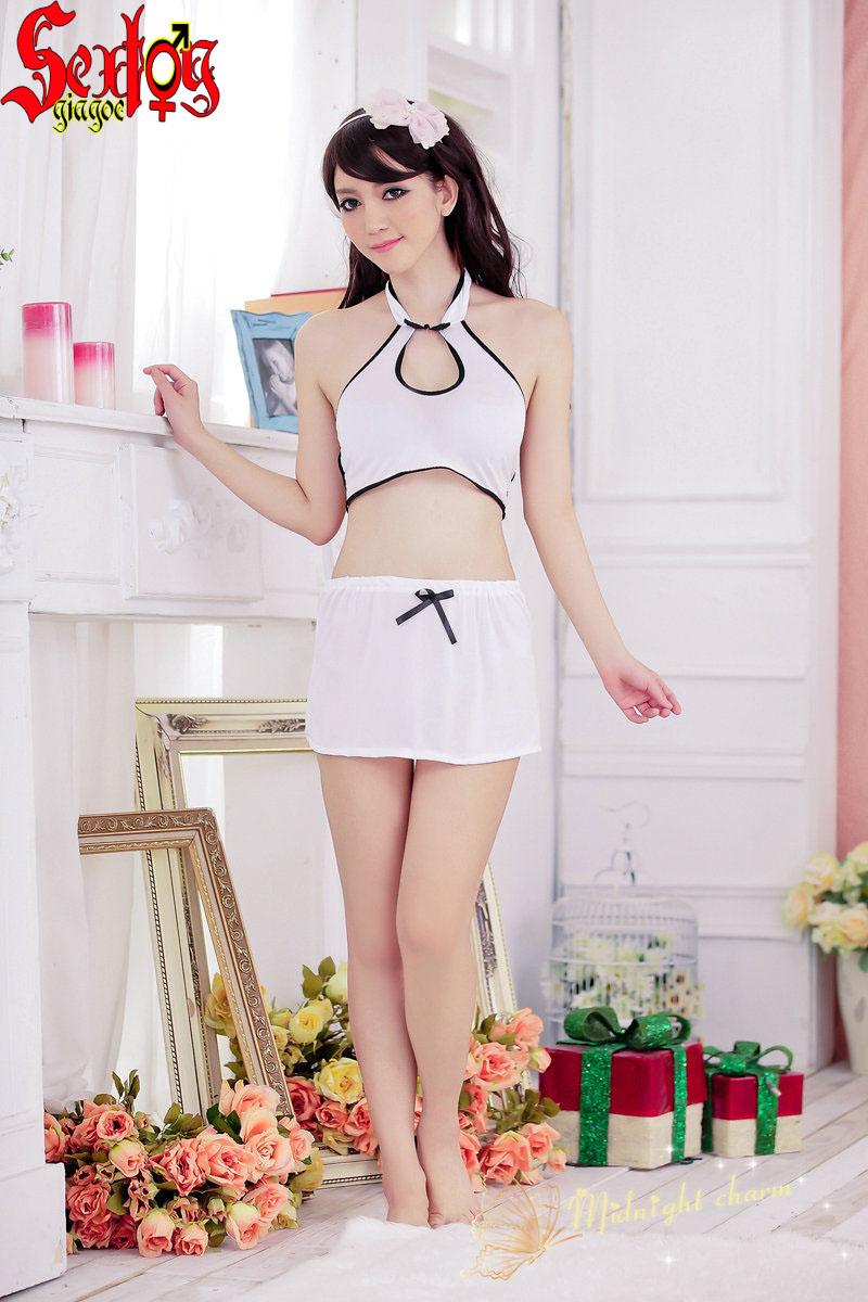 Áo+váy nửa người-màu trắng mỏng manh - NY001