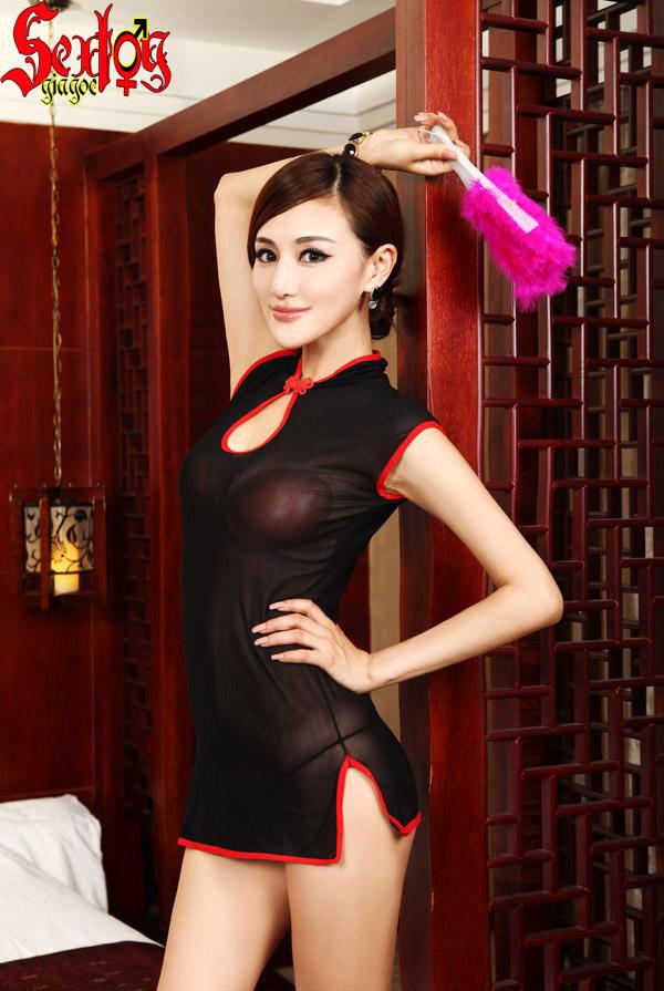 Váy áo liền thân, lưới đen siêu mỏng - NY002