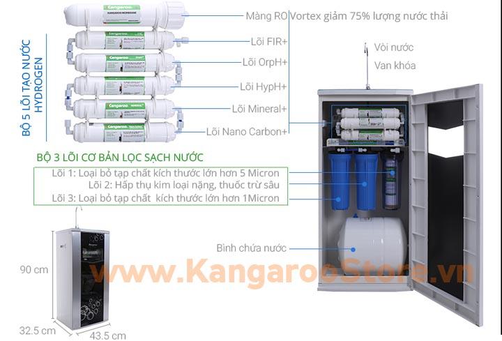 Máy lọc nước Kangaroo Hydrogen KG100HQ vỏ tủ VTU