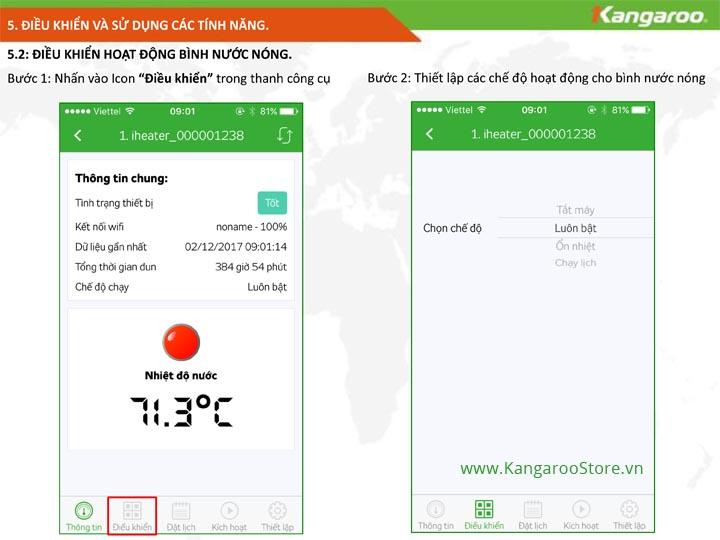 Điều khiển và sử dụng bình nước nóng KG68IOT phần 2