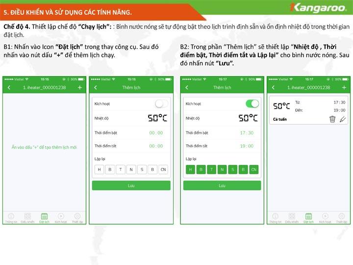 Điều khiển và sử dụng bình nước nóng KG68IOT phần 5