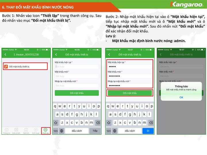 Đặt lại mật khẩu bình nước nóng KG68IOT phần 1