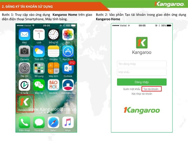 Truy cập vào ứng dụng KangarooHome và đăng ký tài khoản.