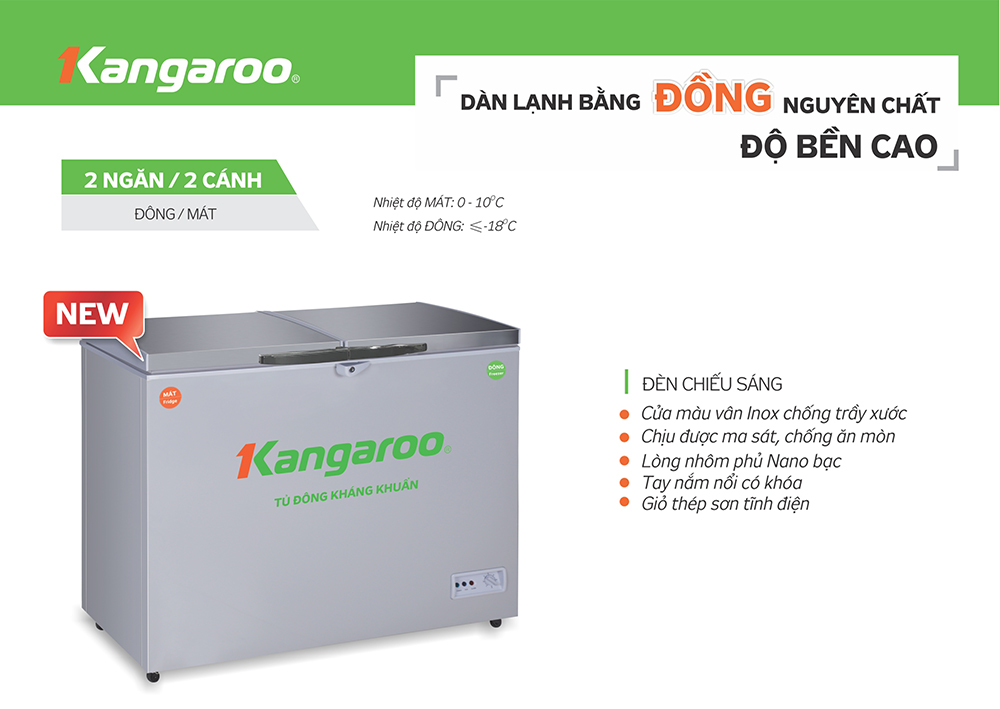 tính năng Tủ đông kháng khuẩn Kangaroo KG418VC2