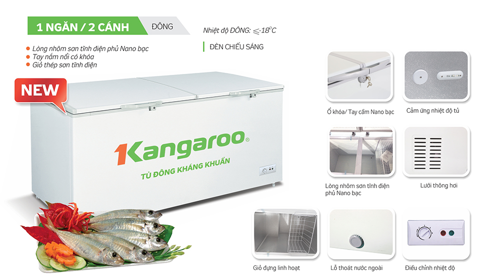 Tủ đông kháng khuẩn Kangaroo KG809C1