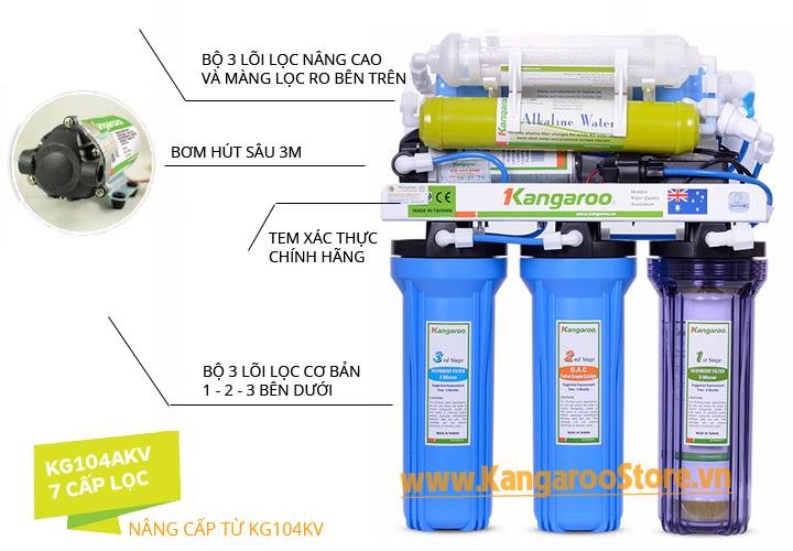 Máy lọc nước Kangaroo 7 lõi không vỏ tủ KG104AKV