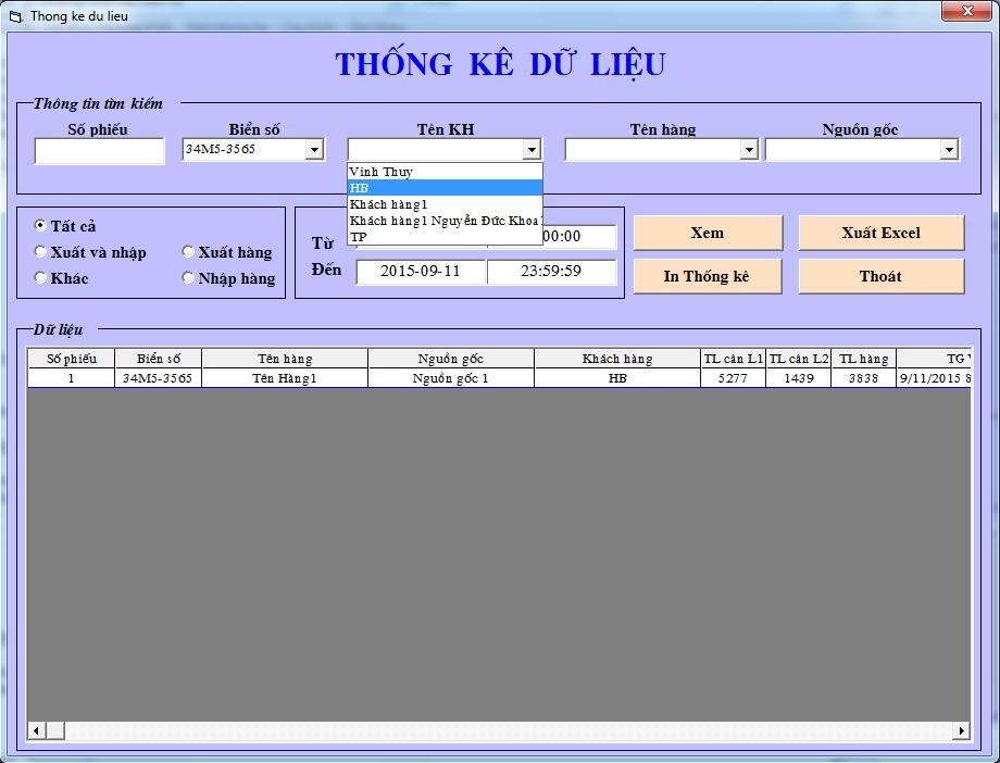 Thống kê dữ liệu phần mềm cân điện tử