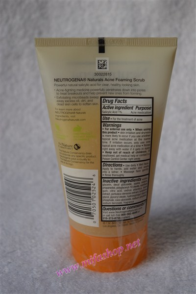 Sữa rửa mặt trị mụn Neutrogena Naturals Acne Foaming Scrub