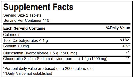Thành phần thuốc bổ khớp Glucosamine 1500mg & Chondroitin 1200mg Kirkland Signature 220 Viên