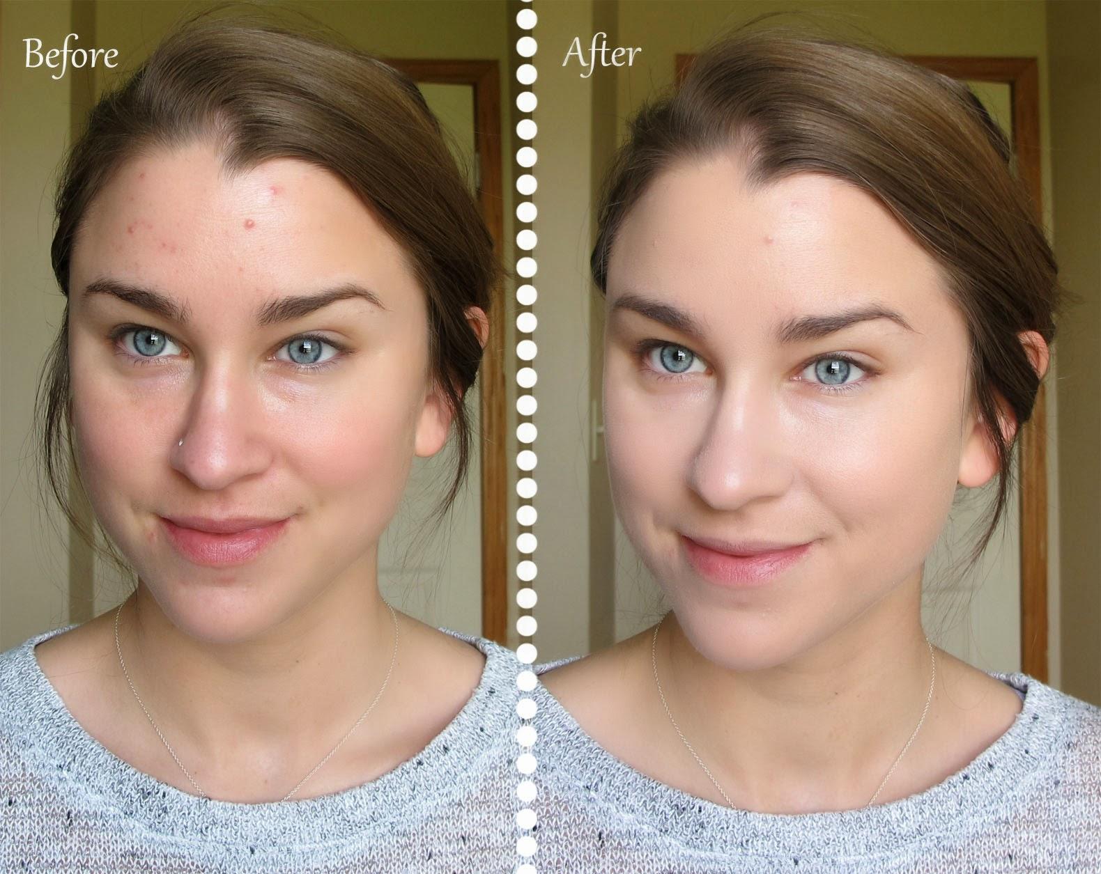 trước và sau khi dùng Kem nền Chanel Perfection Lumiere Velvet mifashop.net