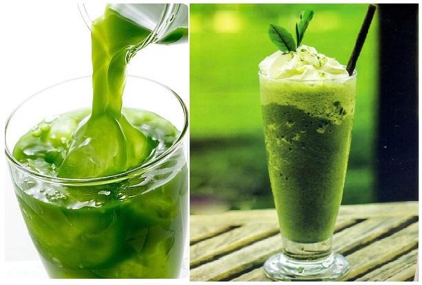 giải khát với nước trà xanh matcha