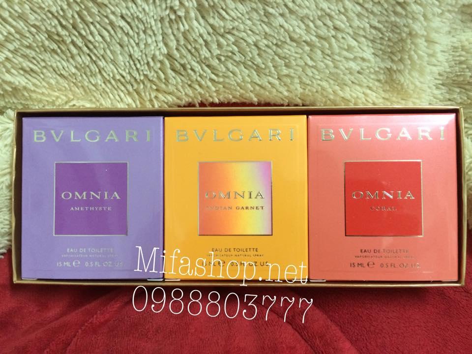 Bộ quà tặng nước hoa Bvlgari Omnia Jewel Charms 3 chai 15ml