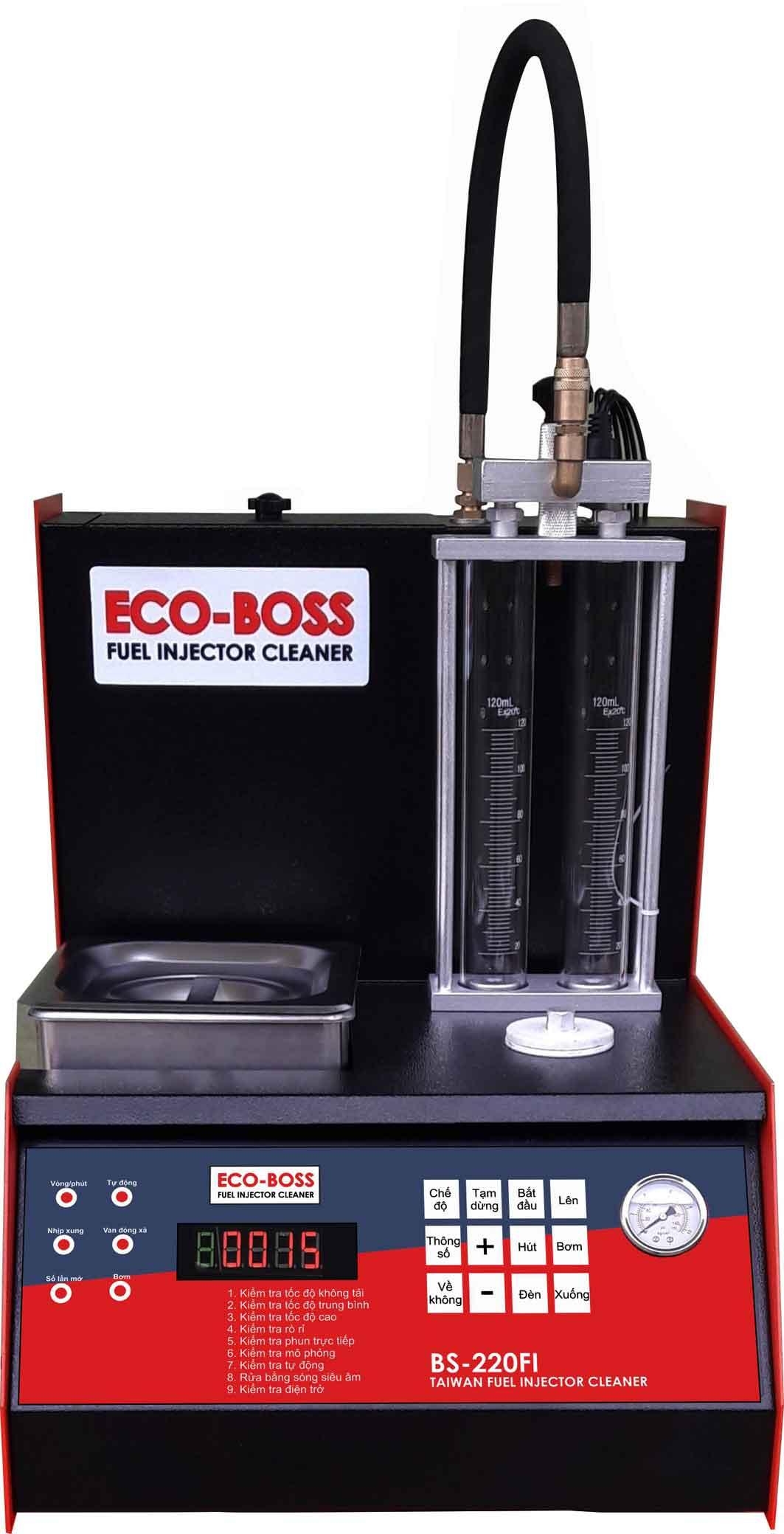 máy vệ sinh kim phun xăng điện tử, máy súc béc ECO BOSS