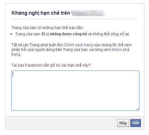khang nghi fanpage Hướng dẫn cách kháng nghị Fanpage bị block Ninja facebook