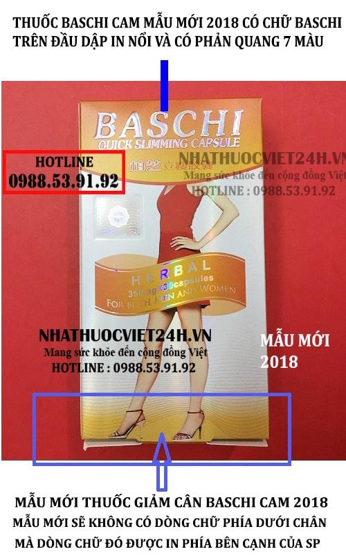phân biệt thật giả thuốc giảm cân baschi