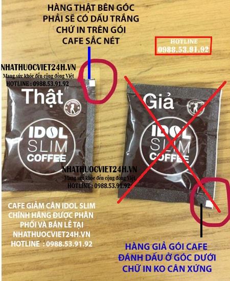Idol slim coffee thật và giả