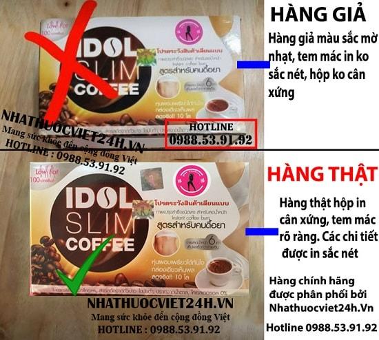 cách phân biệt idol slim coffee thật giả