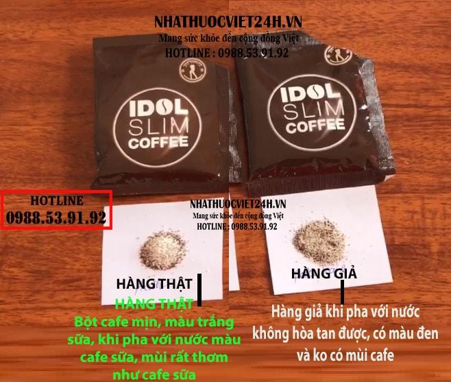 cách nhận biết thật giả idol slim coffee