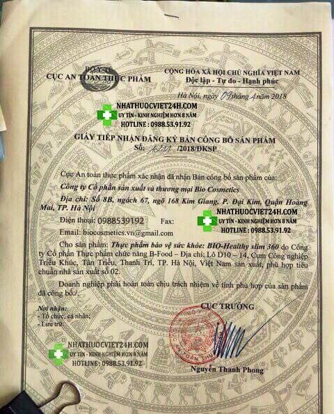 giấy chứng nhận Bio Healty Slim 360