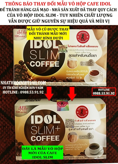 idol slim coffee mẫu mới 2019