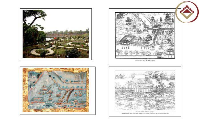 Vườn Cơ hạ trên tranh mộc bản, tranh gương của triều Nguyễn