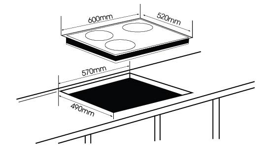 kích thước mặt cắt bếp điện từ NA DT3001