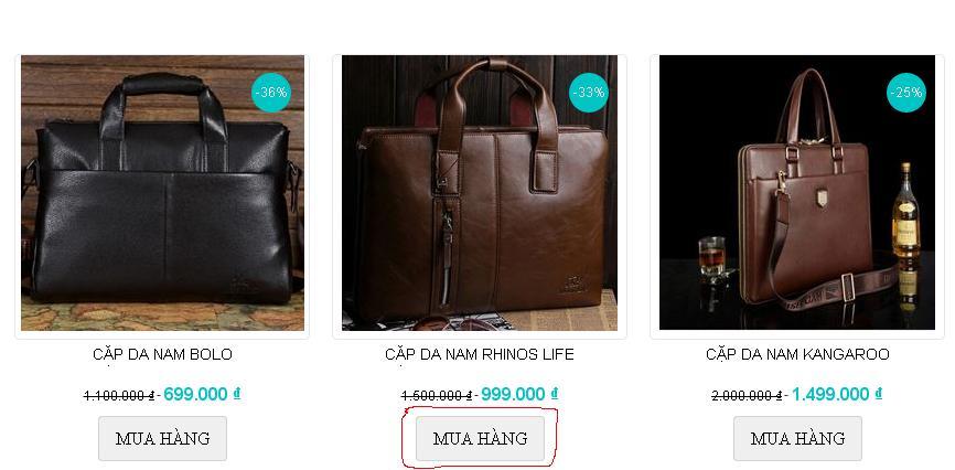 Click vào nút đặt hàng dưới sản phẩm bạn muốn mua