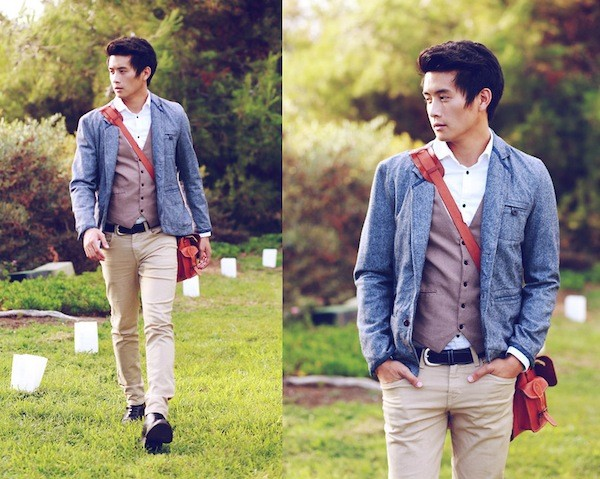 Cặp da nam kết hợp với quần áo thời trang phá cách