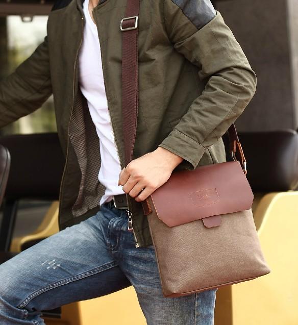 Quần jean, áo khoác mỏng mix cùng túi đeo chéo nam