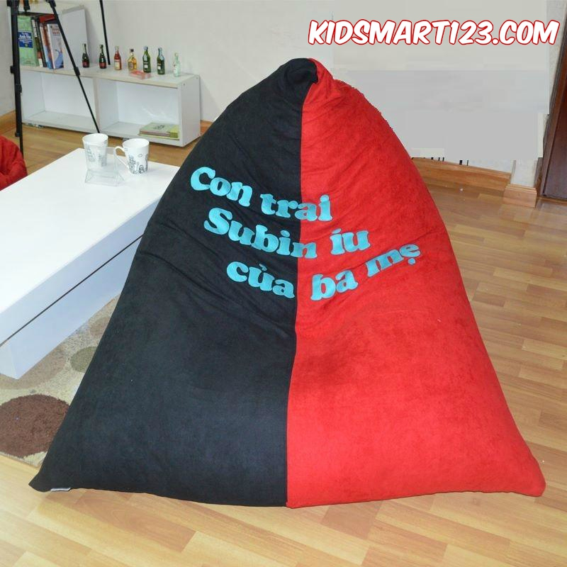 Ghế lười kim tự tháp trung (1m x 1,2m) vải kate Hồng