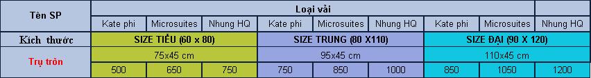Gối lười hạt xốp trụ tròn Size Tiểu(75cm x45cm) Chất liệu Kate